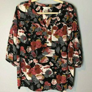 CJ Banks Top Size 1X Popover Blouse 3/4 Sleeves